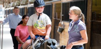 "Clients do a variety of exercises on a ""practice"" horse before riding, such as getting on/off, holding the reins correctly, and doing leg exercises by posting."