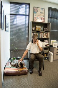 Beau the bluetick coonhound and B2B's CEO and co-founder Frank Fuerst.