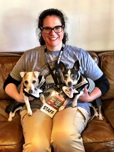 Laura Jesseph, Rock for the Rescues project manager, with Lucy and Holly in the green room.