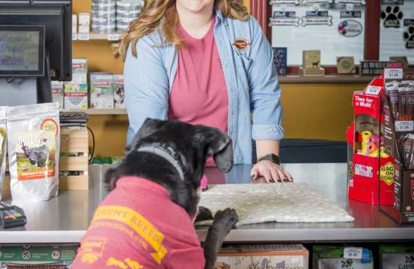Kelsie Pederson's Lab mix Conley visits her at Hollywood Feed's Decatur location.
