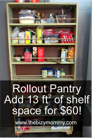 DIY Rollout Pantry - 13sqft of space for $60!