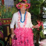 Atlanta Senior Home Resident at Luau Party Performed by Atlanta Steel Pan Musicians