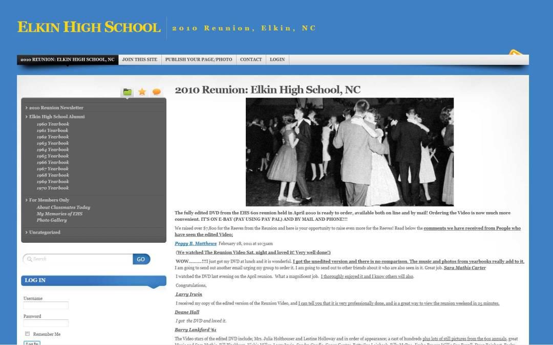 Elkin H.S. Reunion Website Design