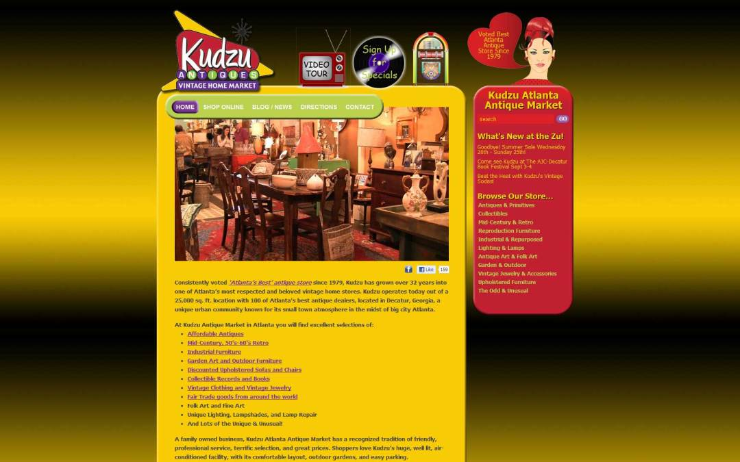 Kudzu Antiques Market Website Design