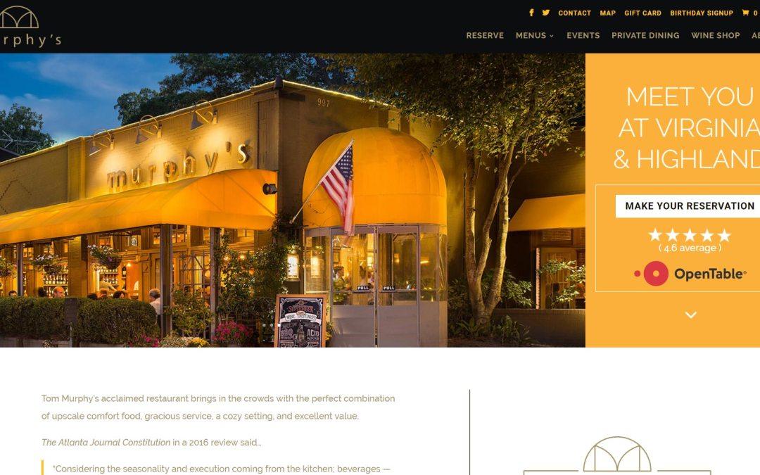 Murphy's Restaurant Website Design