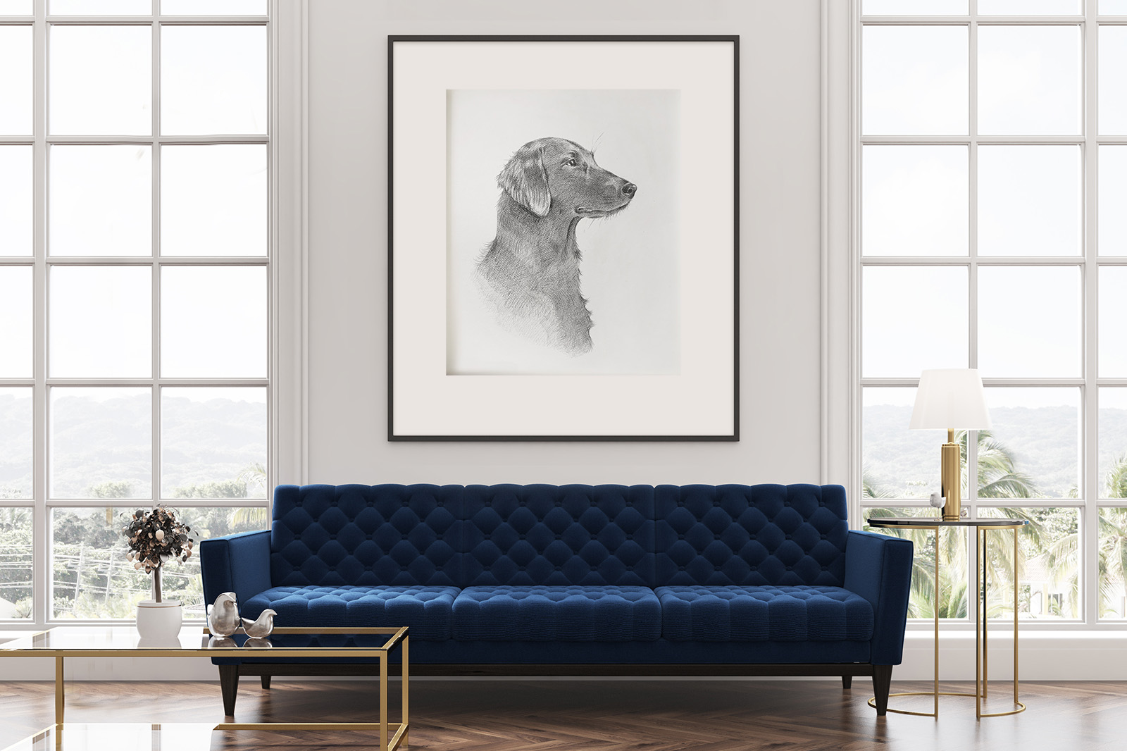 Atlanta Weiss, Portrait of a Dog in Interriour - drawing framed