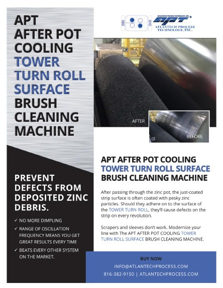 AFTER POT COOLING (APC) TOWER TURN ROLL SURFACE CLEANING BRUSH MACHINE