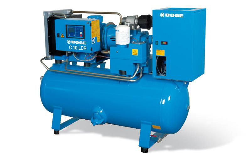 Boge Air Systems - Complete compressed air packages including compressor, tank, dryer, filters, and drains.