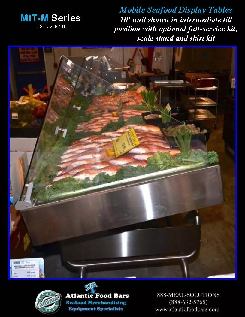 Atlantic Food Bars - Modular Mobile Ice Tables for Seafood Display - MIT12036M-FSK-WSKT-SS