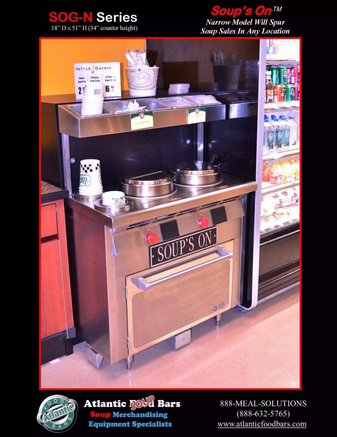 Atlantic Food Bars - 3' narrow two well Soup's On chowder station with overshelf - SOG3618N