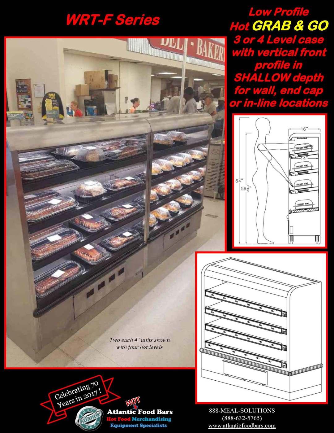 Atlantic Food Bars - FLAT PROFILE Wrangler Giant Mutli-Level Rotisserie Chicken & Hot Packaged Food Merchandiser - WRT-F