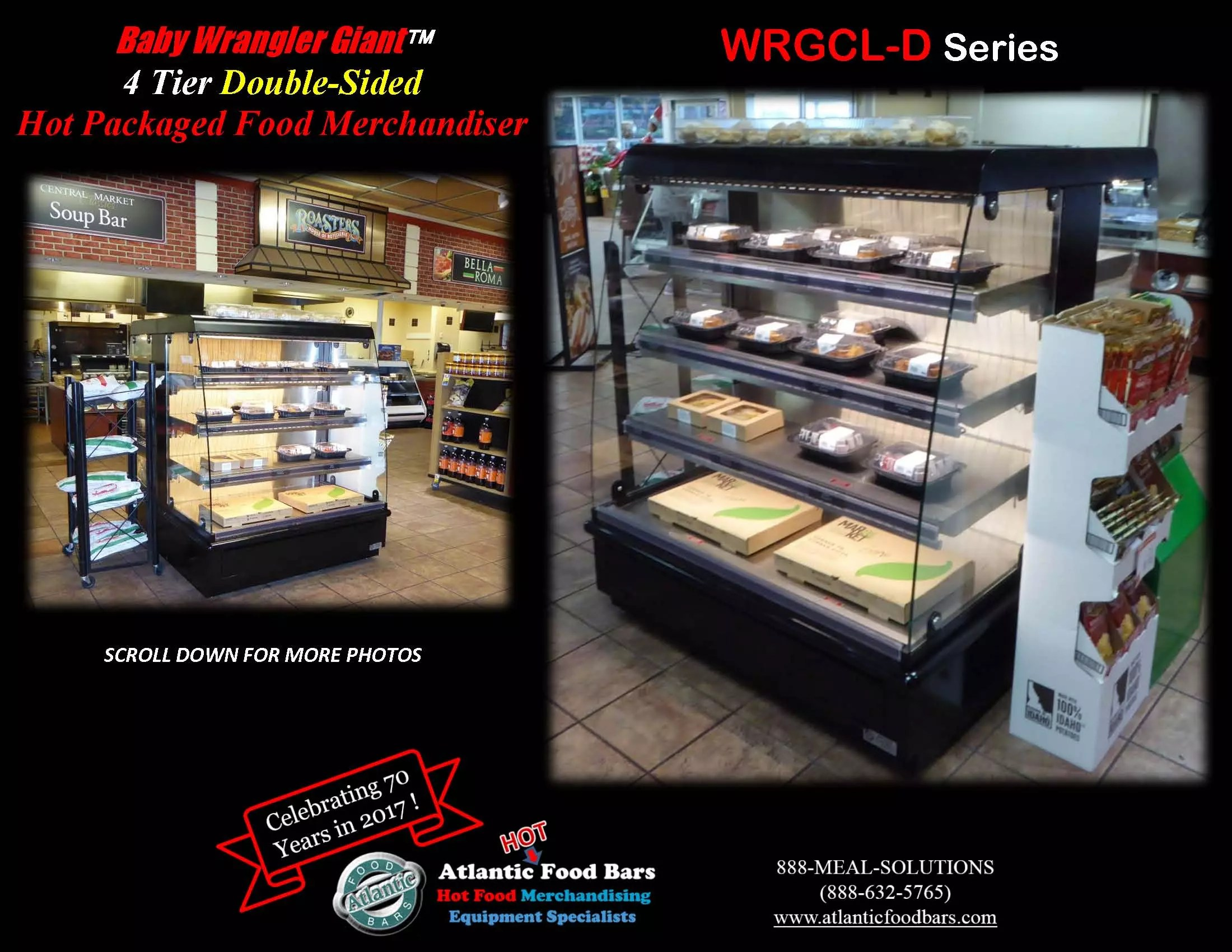 Atlantic Food Bars - Double Sided Baby Wrangler Giant - Four Level Low Profile Hot Packaged Food Merchandiser - WRGCL5060D-ASDS-CE-PCB_Page_1