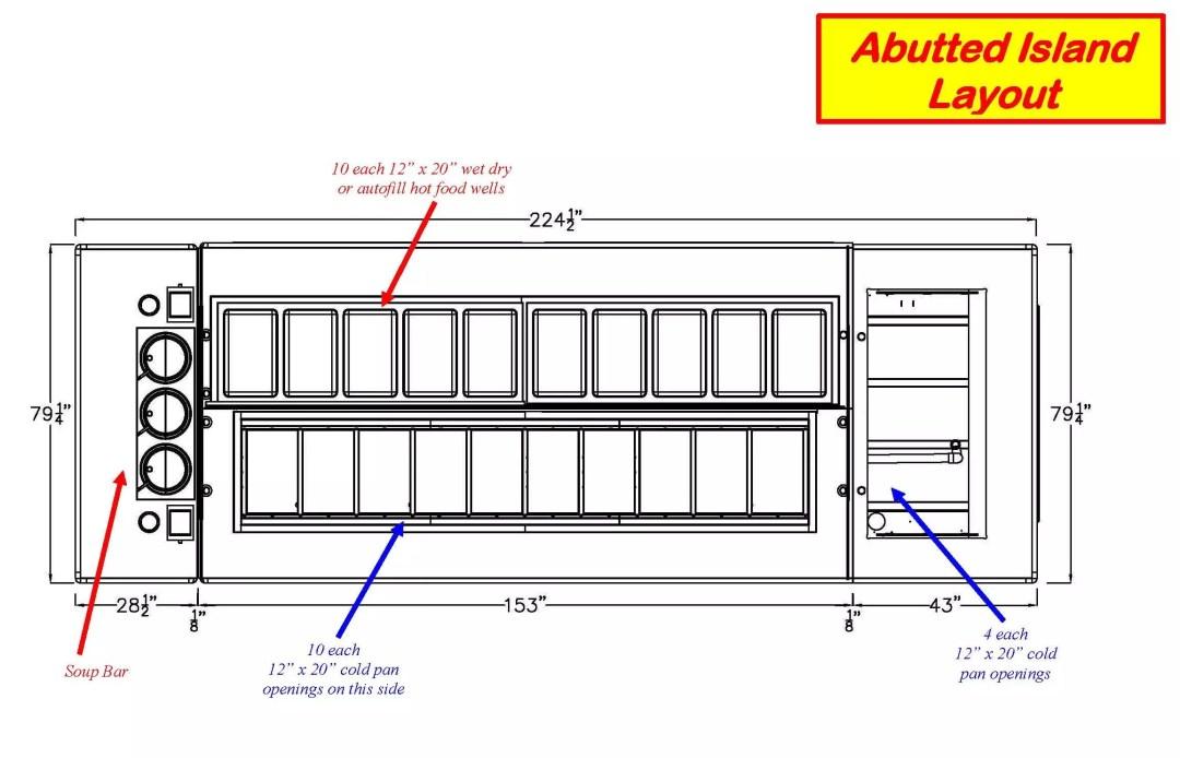 Atlantic Food Bars - Modular Island Salad and Soup Bar with Convertible Self to Full Service Sneezeguard 2a