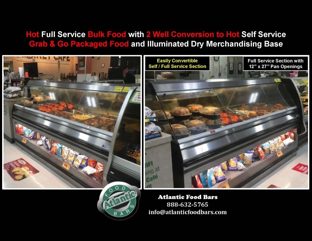 Atlantic Food Bars - Easily Convertible Full to Self Service Hot Food Merchandiser - Countertop or Freestanding Base Model - SHFBBK Series 2