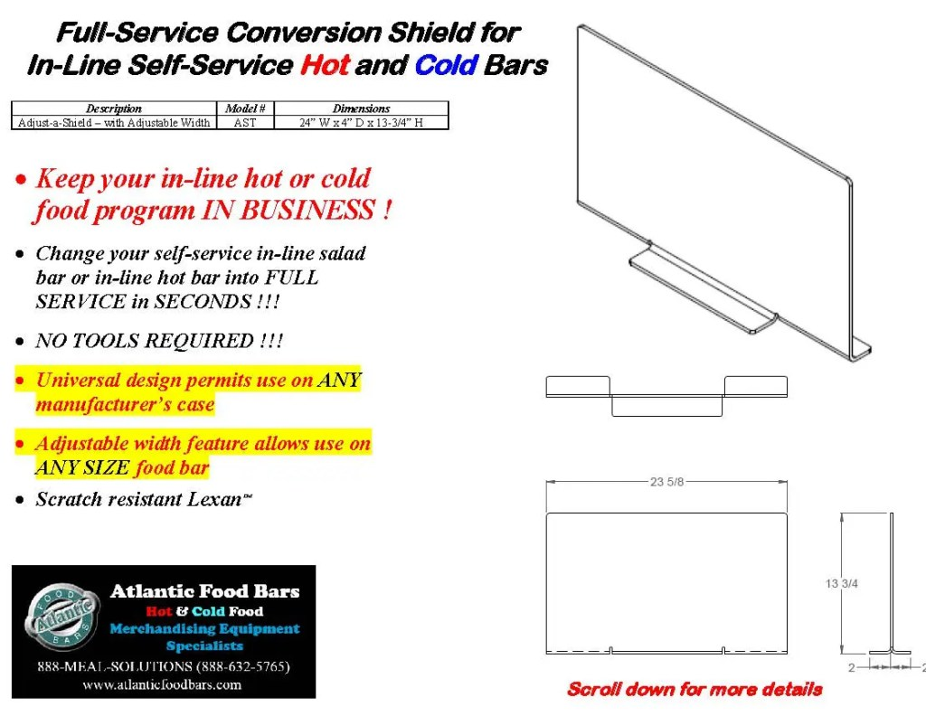 Atlantic Food Bars - The Shield - Lexan Full Service Conversion Kit for In-Line Cold and Hot Food Bars - AST_Page_3