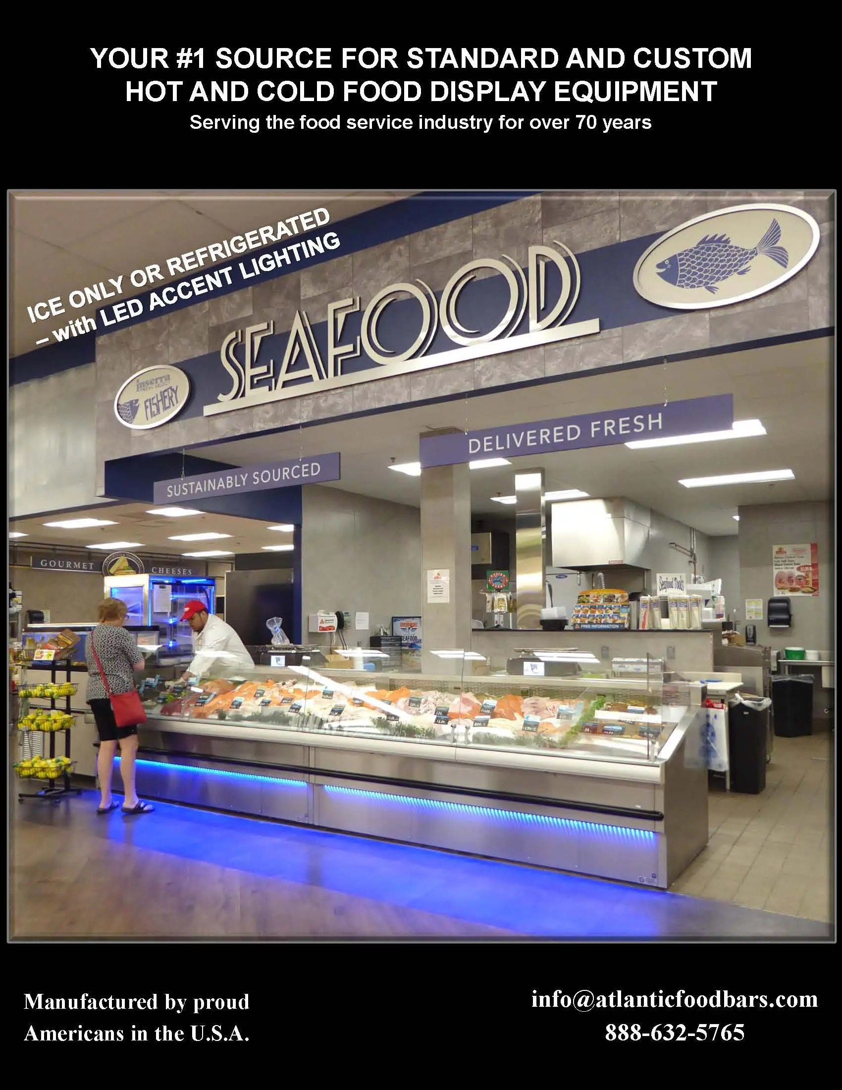 Atlantic SEAFood Bars - Seafood Merchandisers with Angles, Pedestals, LED Accent Lighting, Misting Systems and more 1