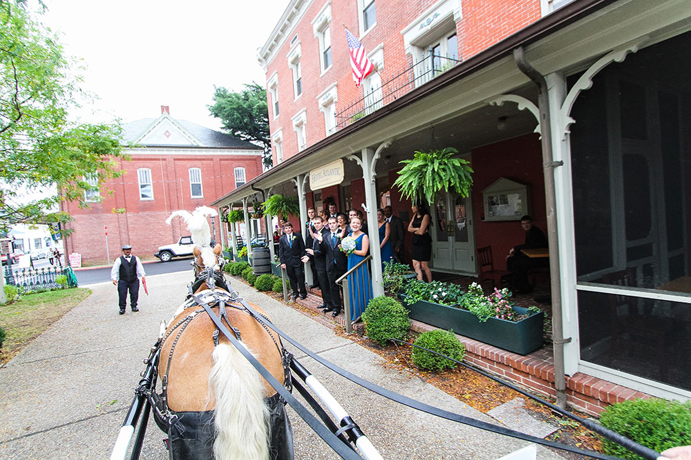 Weddings Main   The Atlantic Hotel   Historic Berlin MD Horse drawn carraige to the Atlantic Hotel for wedding in Berlin MD