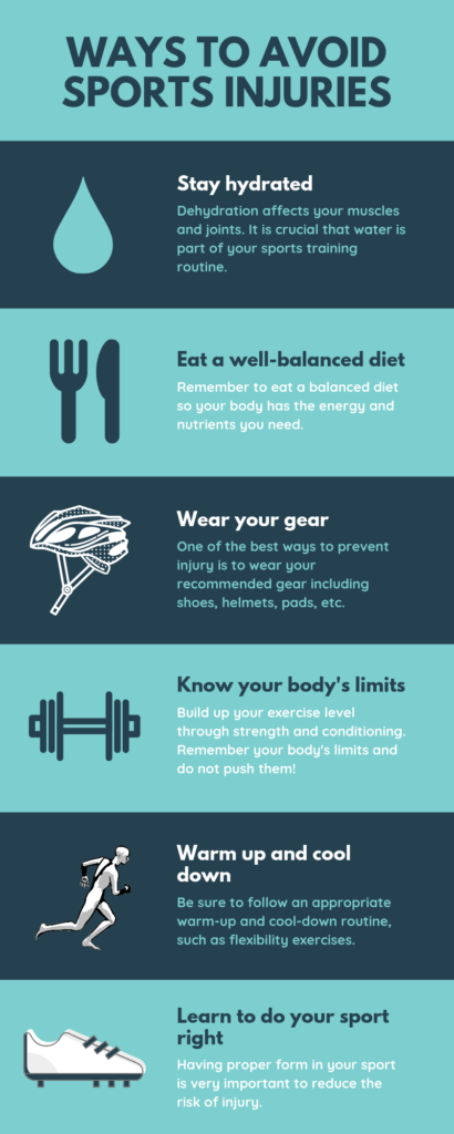 ways to avoid sports injuries infographic