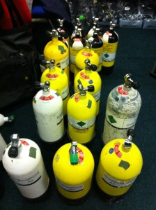 A lot of diving cylinders