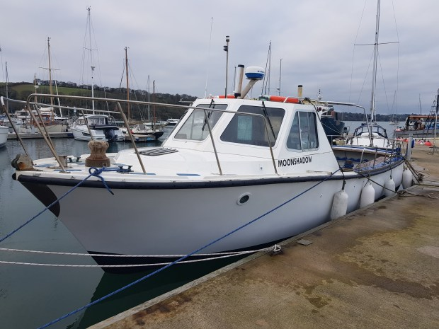 Moonshadow hard boat for diving at Mylor Yacht Harbour