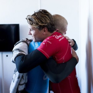 Julian Wilson and Mick Fanning giving each other support