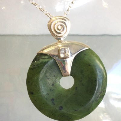 Canadian Jade Donut / Clear Quartz Pendant with Chain
