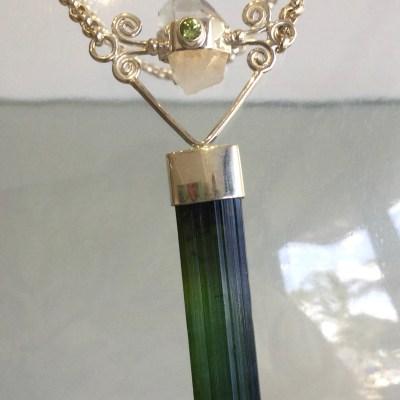 Green Tourmaline / Clear Quartz Pendant with Chain