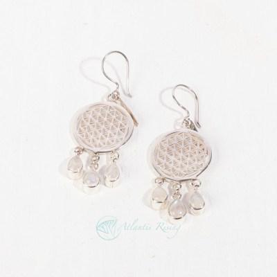 Moonstone / Flower of Life Earrings