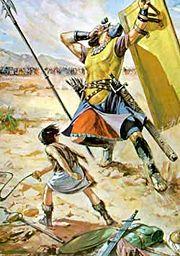 Abb. 2 Der gigantische Philister Goliath, der im Zweikampf von David getötet wurde, ist der bekannteste der biblischen Riesen.