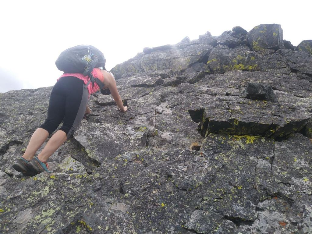 Coming up another pitch on the Inwood Arete