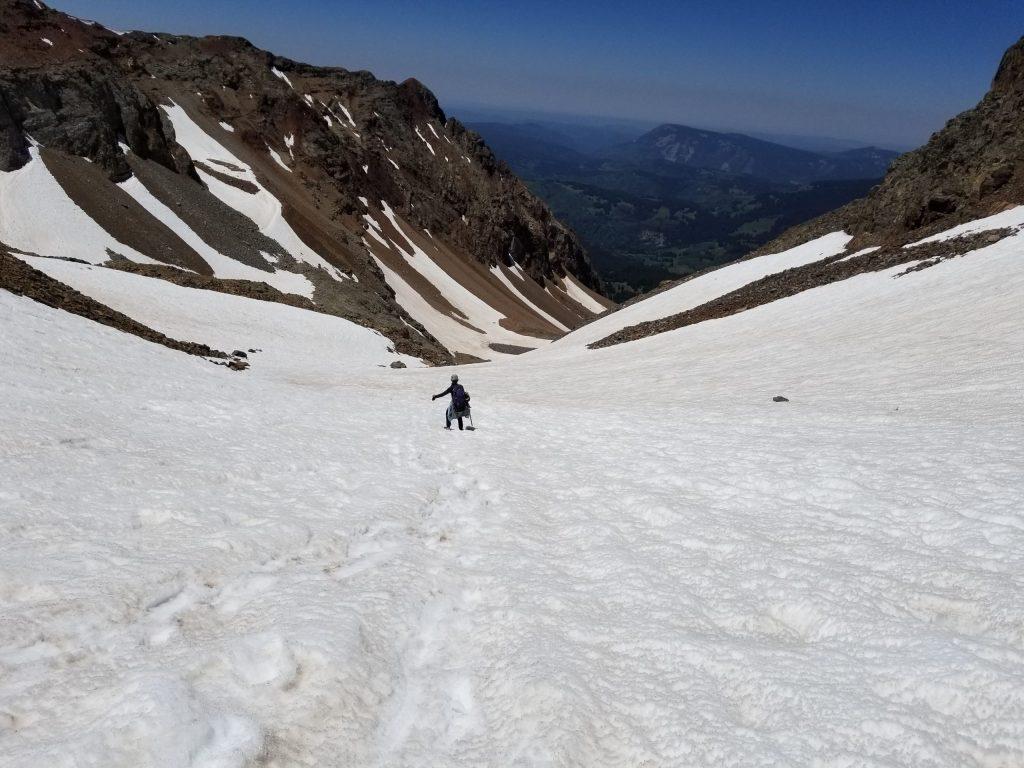 Snowfields coming down from the El Diente Mt. Wilson traverse