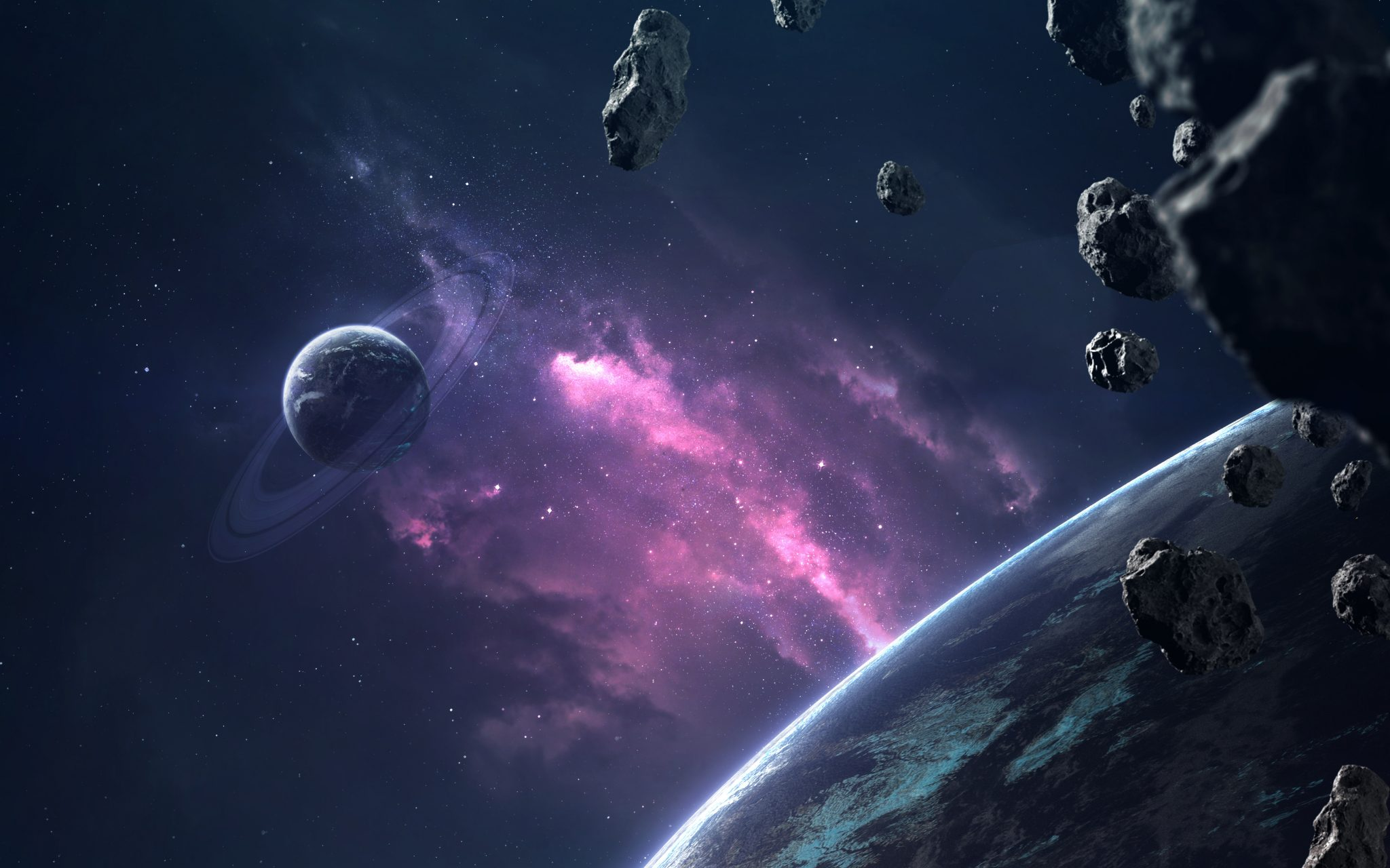 asteroids in deep space