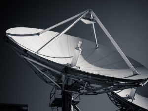 black and white antenna dish