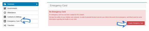 Emergency Card user interface - ATLAS Parent Portal