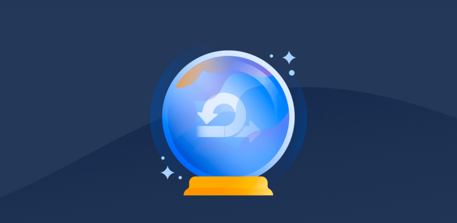 Illustration of a crystal ball with the agile symbol appearing inside it