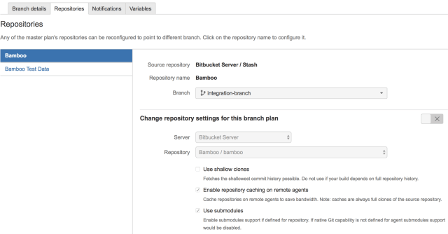 Bamboo multiple repository branch control UI