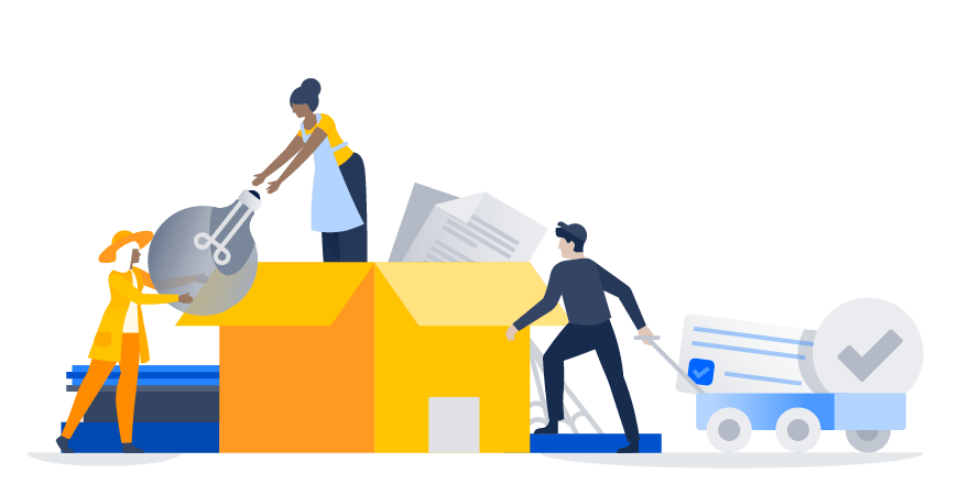 illustrations of people unpacking a giant box, a woman giving a light bulb to another woman, a man pulling a wagon with large documents in it.