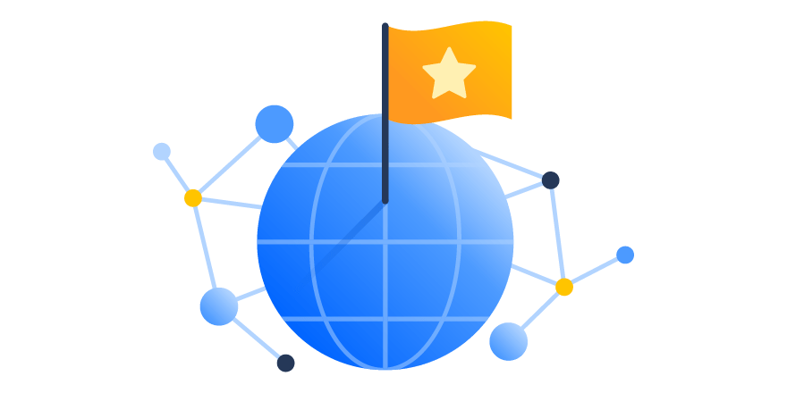 Illustration representing a global company including a globe and a flag