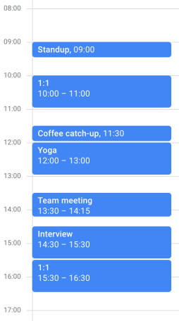 Screenshot of a disorganized daily schedule