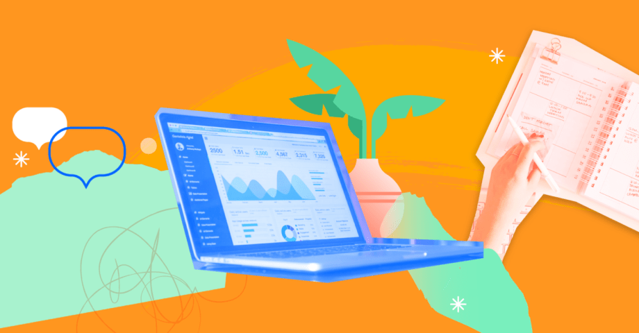 Illustration with a laptop, a person writing in a calendar planner and a house plant.