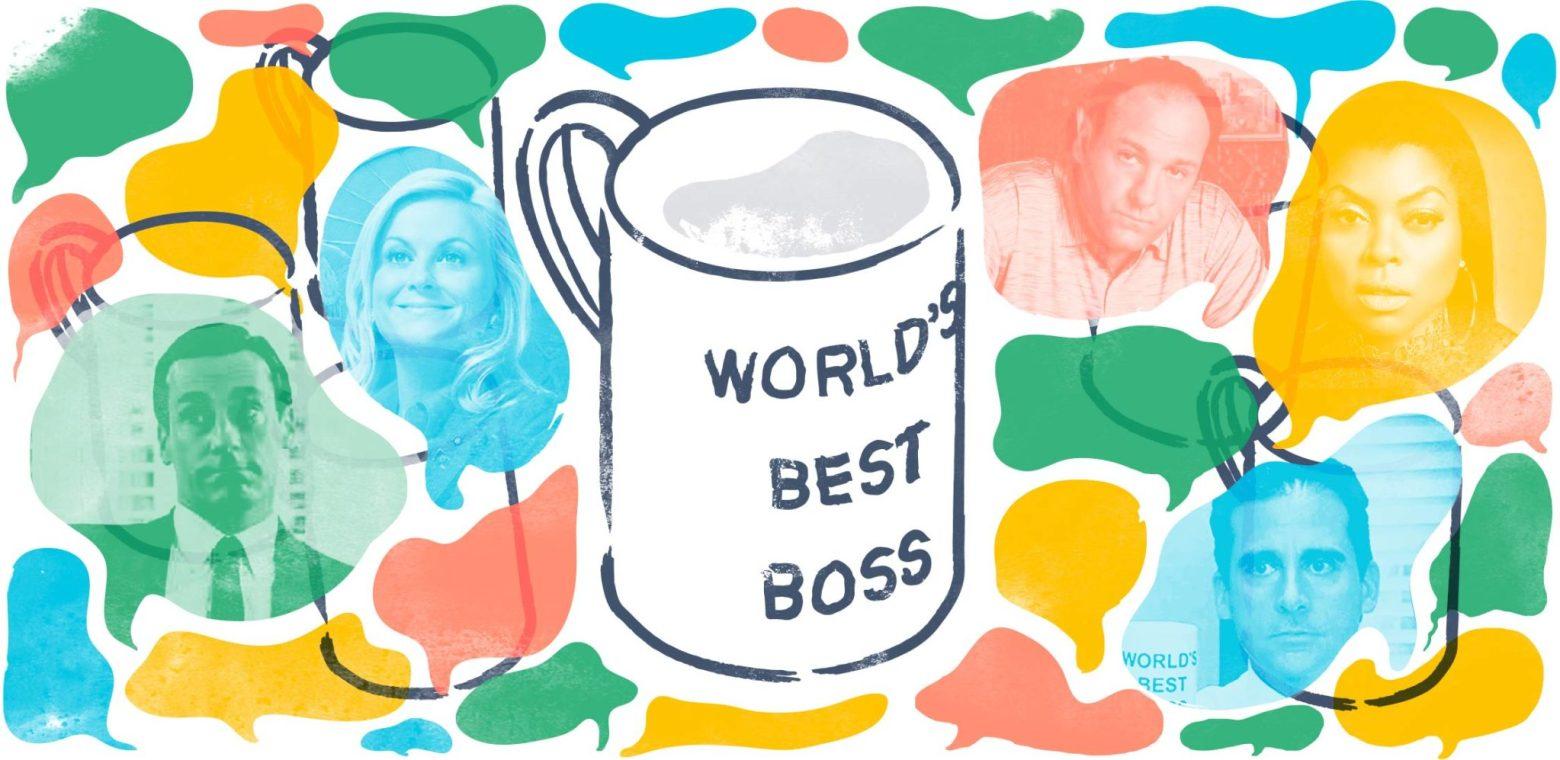 Illustration of coffee mug with TV celebrity headshots surrounding