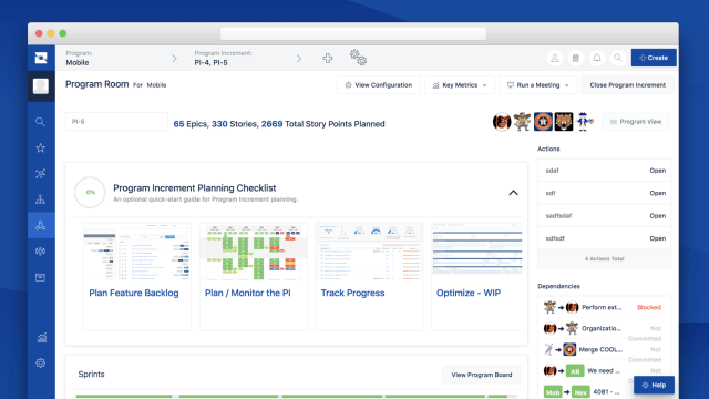 A summary overview of the program in Jira Align's Program Room. It shows a PI planning checklist and summary of epics, stories, and story points across the program for upcoming sprints.