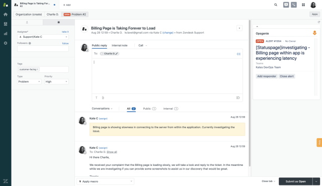 Use the Opsgenie app in Zendesk to manual create alerts directly from the Zendesk UI.