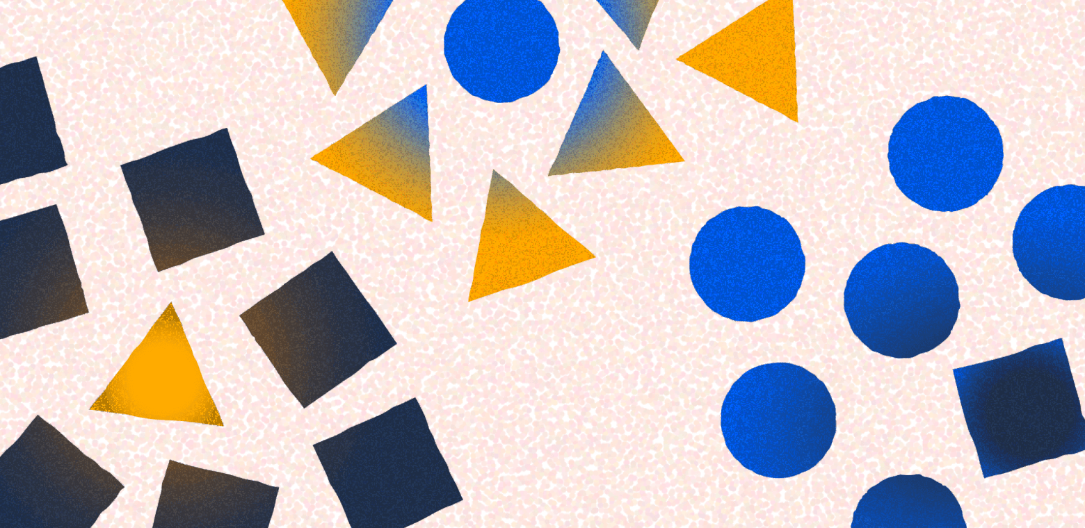 Illustration showing a mixture of shapes and colors