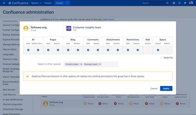 Bulk edit space permissions in Confluence Data Center