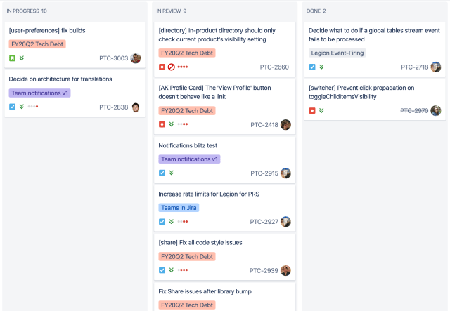 """An example of """"in review"""" columns in an agile board"""