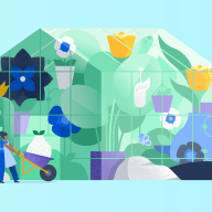 illustration of people building a greenhouse with lots of flowers