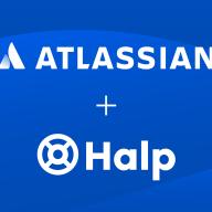 Atlassian and Halp logos on a blue background