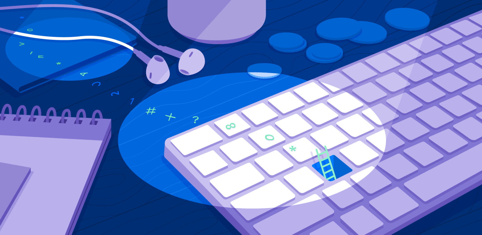 Illustration of a keyboard with password-like characters trailing away from it and search lights shining down