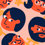 Illustration with sour-looking faces on a solid background